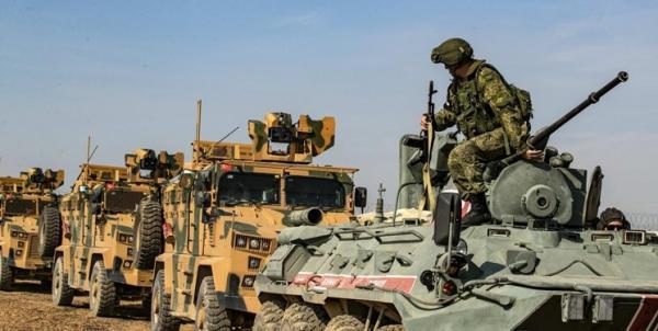 گشتزنی مشترک نظامیان روسیه و در ترکیه در شمال سوریه